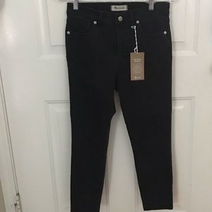 "Madewell 9"" high rise skinny cropped black jeans"